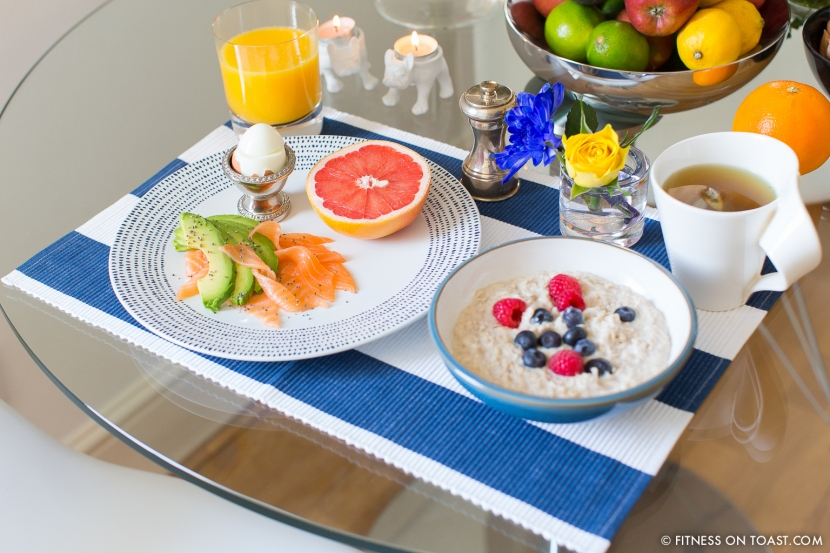 Fitness On Toast Faya Blog Hotel Breakfast Healthy Grapefruit Egg Avocado Smoked Salmon Porridge Berries Green Tea Orange Juice Health Natual Protein Good Fat Complex Carb Low GI Slow Release Recipe Picture-1